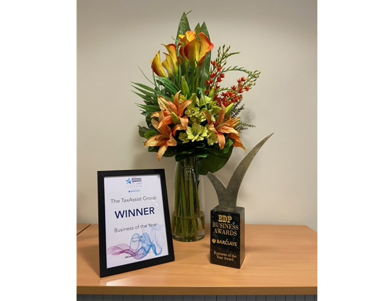 award, certificate and flowers